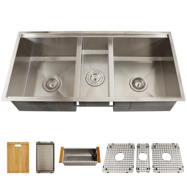 Ticor Royal Stainless Steel 16 Gauge Triple Bowl Undermount Kitchen Sink