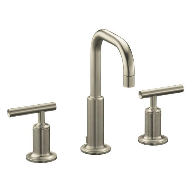 Gooseneck Faucet Bathroom : ... Purist Widespread Lavatory Faucet With Low Spout And Low Cross Handles