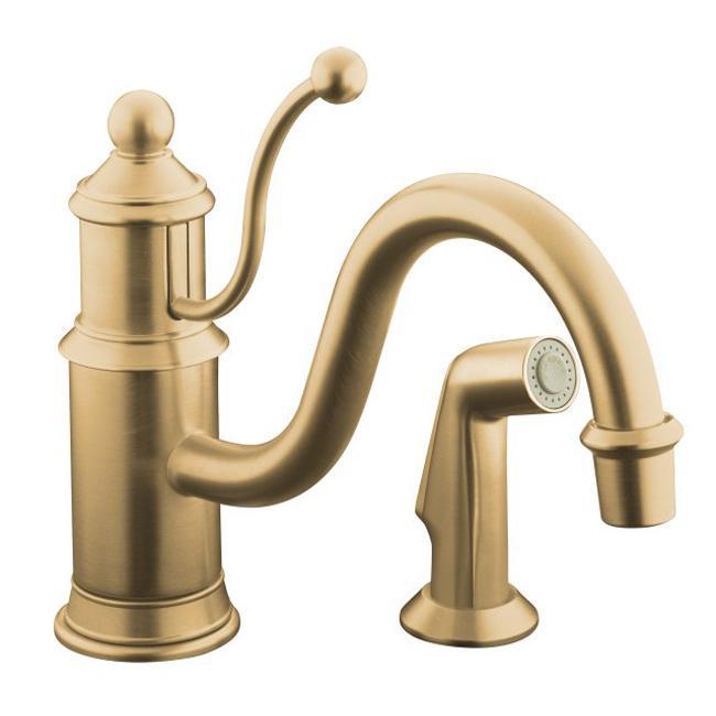 Kohler K-169-BV Vibrant Brushed Bronze Antique Single-Control Kitchen Sink Faucet With Color-Matched Sidespray