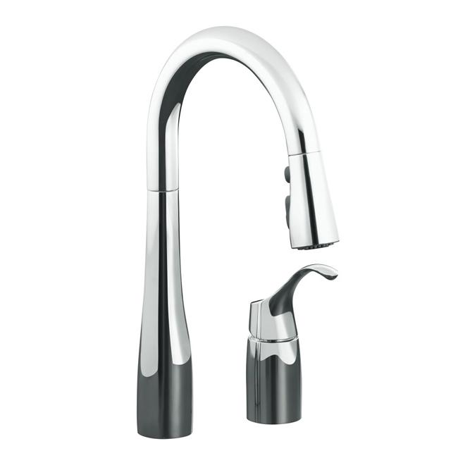 Kohler K-649-CP Polished Chrome Simplice Pull-Down Secondary Sink Faucet