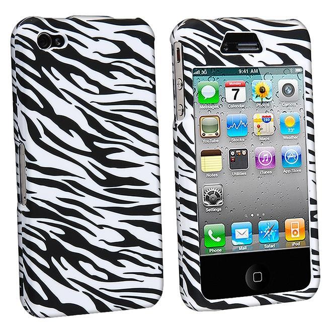 White/ Black Zebra Case for Apple iPhone 4