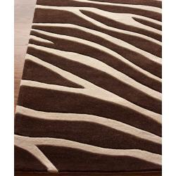 Nuloom Handmade Pino Collection Brown Modern Zebra Rug 5