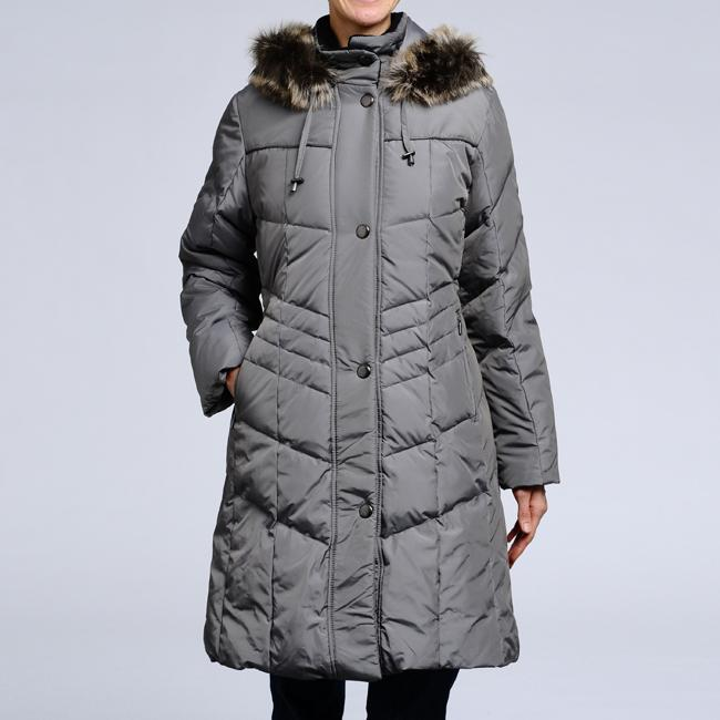 Women's Down Quilted Faux-fur Trim Hooded Coat