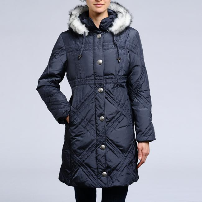 Women's Down Faux Fur Trim Hooded Quilted Coat