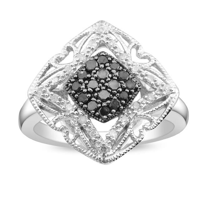 Sterling Silver 1/4ct TDW Black and White Diamond Ring