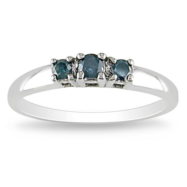10k White Gold 1/4ct TDW Blue Diamond 3-stone Ring
