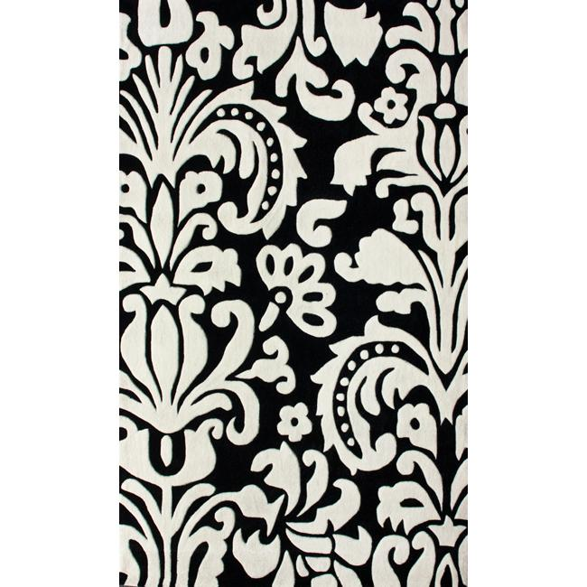 Damask Flatweave Rug: Handmade Europa Collection Black/ White Tribal Damask Rug