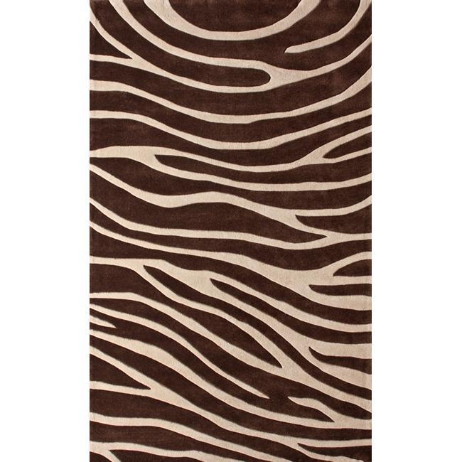 Superb NuLOOM Handmade Pino Collection Brown Modern Zebra Rug (7u0026#x27 ...