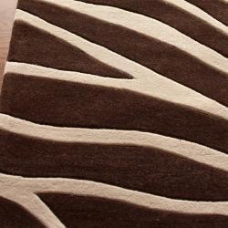 Nuloom Handmade Pino Collection Brown Modern Zebra Rug 7
