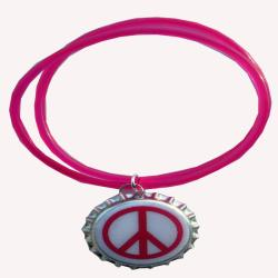 White Peace Sign Jelly Charm Bracelet
