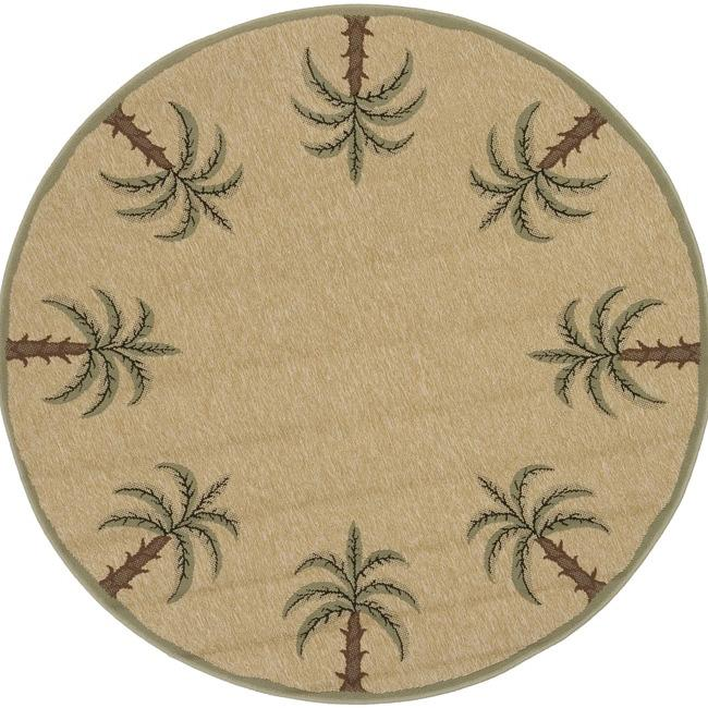 Picnic Beige Palm Tree Border Indoor/Outdoor Rug (5'3 Round)