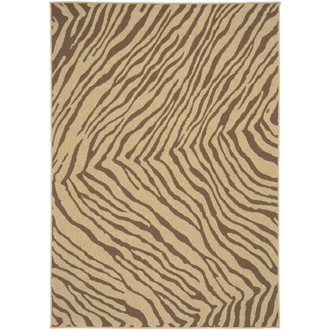 Picnic Tan Zebra Print Indoor/Outdoor Rug (3'6 X 5'6