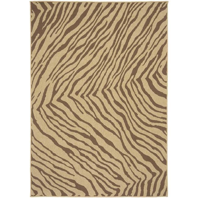 Picnic Brown/Tan Zebra Print Indoor/Outdoor Rug (5'3 x 7'6)