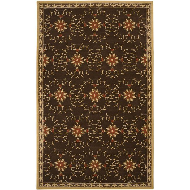 Hand-hooked Bliss Chocolate/ Brown Floral Rug (9' x 12')