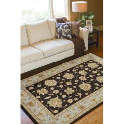 Hand-hooked Bliss Chocolate Indoor/Outdoor Floral Border Rug (9' x 12')