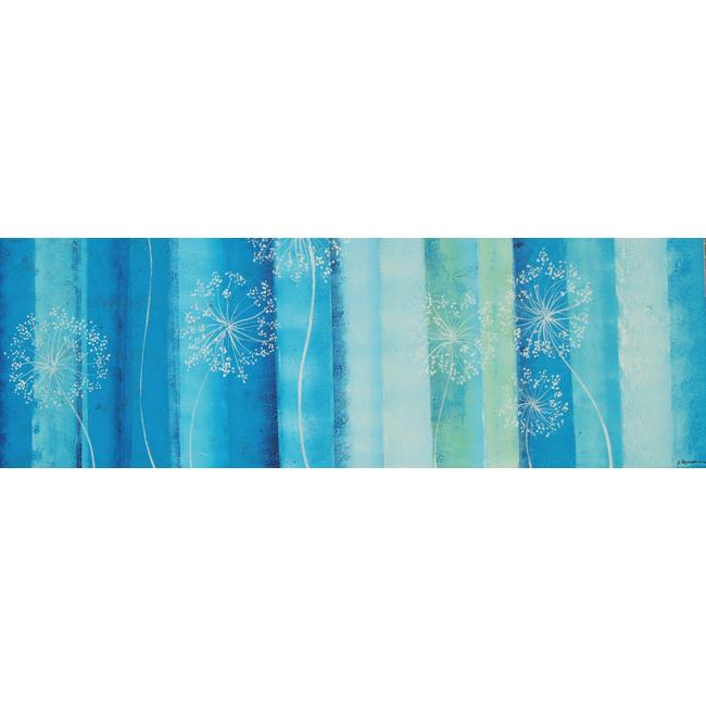 Turquoise Floral Gallery Wrapped Canvas Art