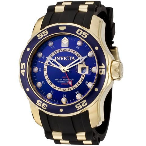Invicta Men'S 'Pro Diver' Black and Goldplated Gmt Watch