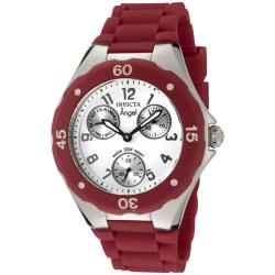 Invicta Women's 'Angel' White Dial Red Silicon Watch