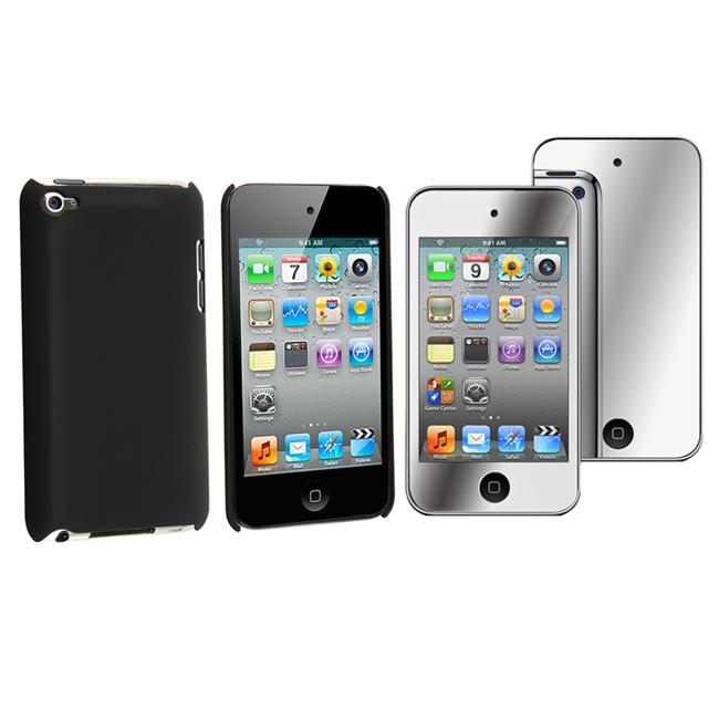 Black Rubber Case/ Mirror Screen Protector for Apple iPod Touch 4