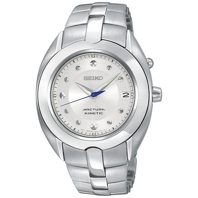 Seiko women 39 s 39 arctura 39 stainless steel kinetic watch free shipping today for Movado kinetic