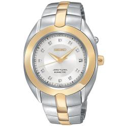Seiko Women's 'Arctura' Steel Kinetic Diamond Watch - Thumbnail 1
