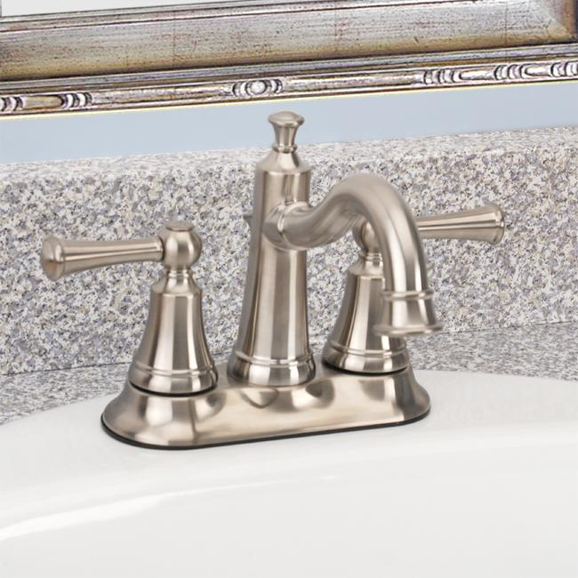 Fontaine Diamani Centerset Brushed Nickel Bathroom Sink Faucet