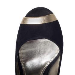 Dolce & Gabbana Women's Suede Black Peep Toe Pumps