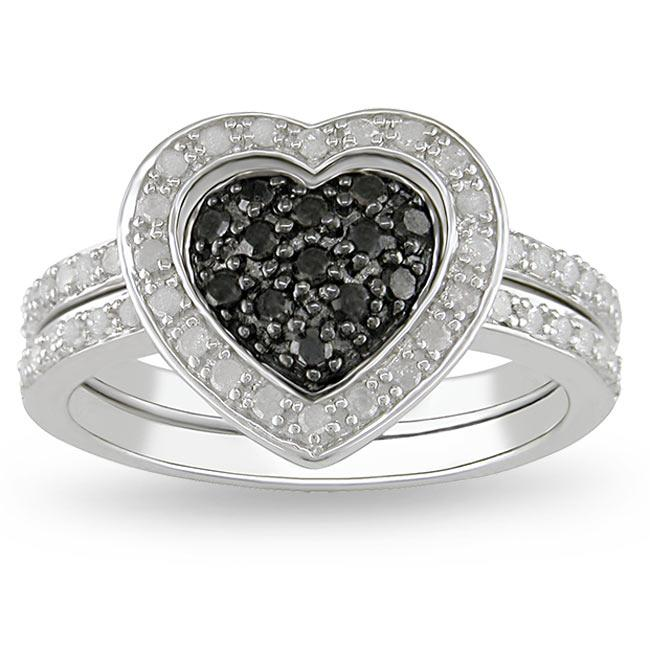 Miadora Sterling Silver 3/8ct TDW Black and White Diamond Ring Set