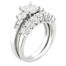 Miadora 14k White Gold 2 1/5ct TDW Diamond Bridal Ring Set (G-H, I1-I2) - Thumbnail 1