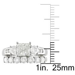 Miadora 14k White Gold 2 1/5ct TDW Diamond Bridal Ring Set (G-H, I1-I2) - Thumbnail 2
