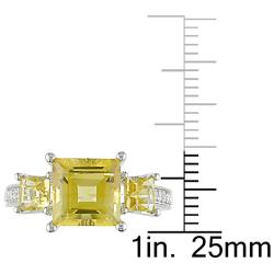 Miadora Sterling Silver Yellow and Clear Cubic Zirconia Engagement-style Ring - Thumbnail 2