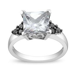 Miadora Sterling Silver Clear and Black Cubic Zirconia Engagement-style Ring