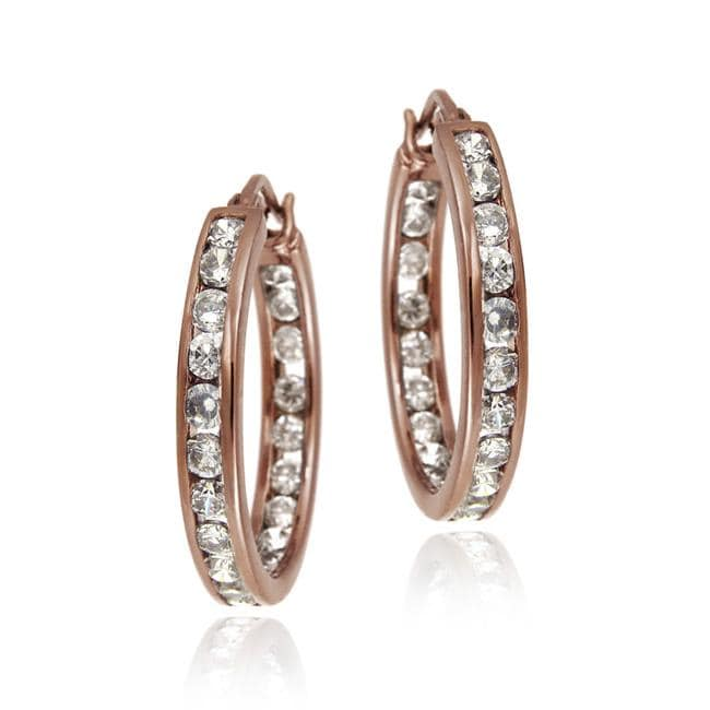 Icz Stonez Rose Gold over  Sterling Silver Cubic Zirconia Hoop Earrings