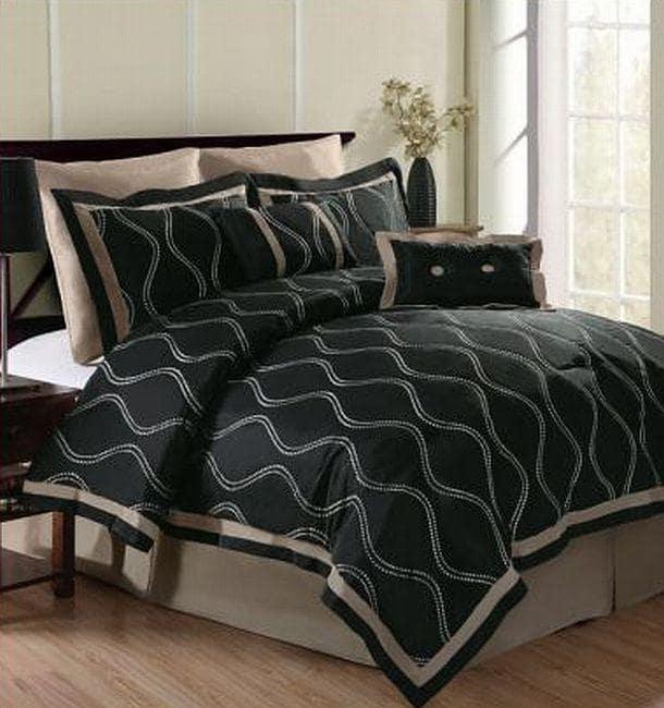 Wavy Black/ Beige 8-piece Comforter Set