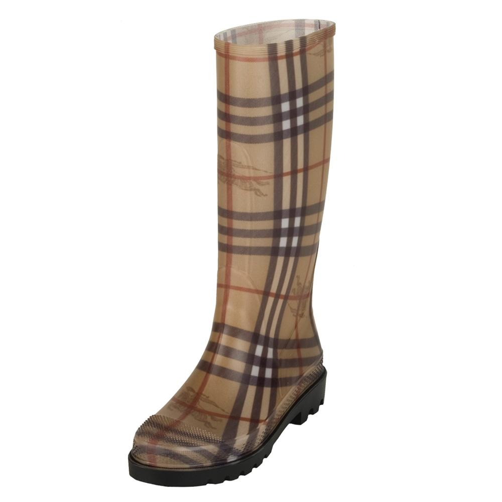 09a049d1ee50c Shop Burberry Women's Check Rubber Rain Boots - Free Shipping Today -  Overstock - 5509910