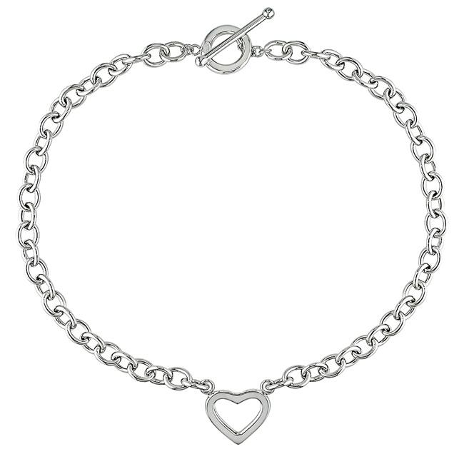 Miadora 14k White Gold Togo Style Chain Heart Necklace
