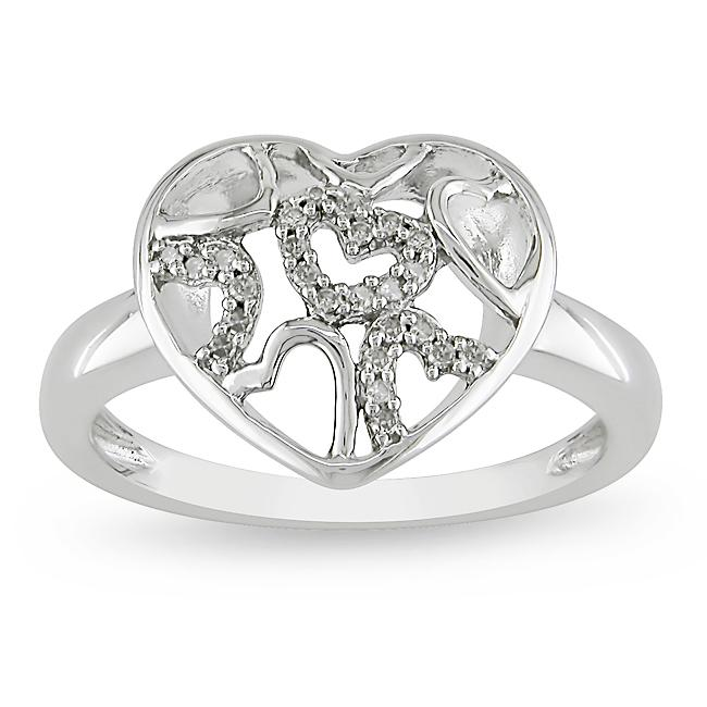 Miadora Sterling Silver 1/10ct TDW Diamond Heart Ring