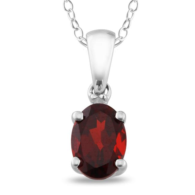 Sterling Silver Garnet and Diamond Accent Necklace