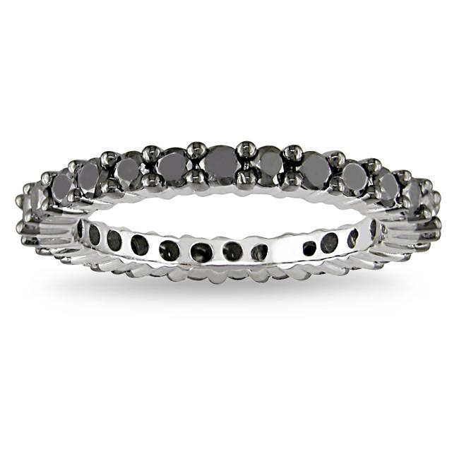 Miadora Sterling Silver 1ct TDW Black Diamond Eternity Ring - Thumbnail 0
