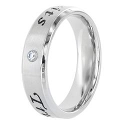 Stainless Steel 'True Love Waits' Cubic Zirconia Band - Thumbnail 1