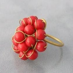 Brass and Red Coral Front Cluster Ring (Thailand) - Thumbnail 1