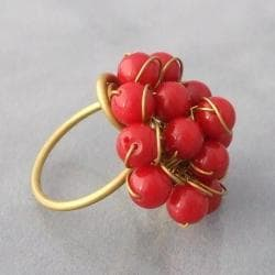 Brass and Red Coral Front Cluster Ring (Thailand) - Thumbnail 2