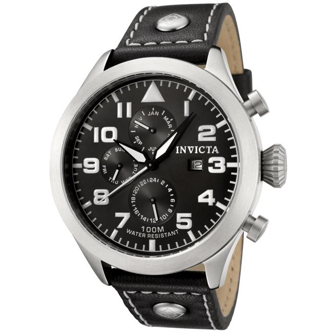 Invicta Men's 'Specialty' Black Dial Black Calf Leather W...