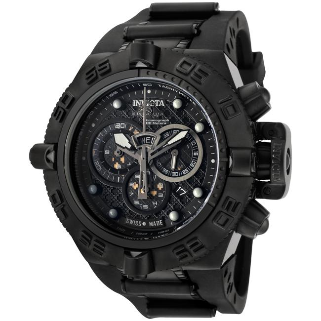 Invicta Men's 'Subaqua' Rubber Strap Black Ion-plated Chronograph Watch