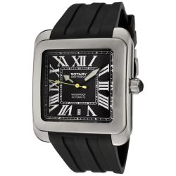Rotary Men's 'Editions' Black Dial Black Rubber Strap Automatic Watch - Thumbnail 1