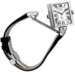 Rotary 'Revelation' Black/ White Dial Black Leather Strap Watch - Thumbnail 1