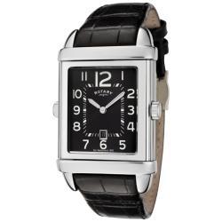 Rotary 'Revelation' Black/ White Dial Black Leather Strap Watch - Thumbnail 2