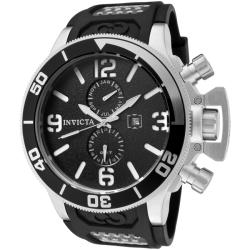 Invicta Men's 'Corduba' Black Rubber Strap Stainless Steel GMT Watch