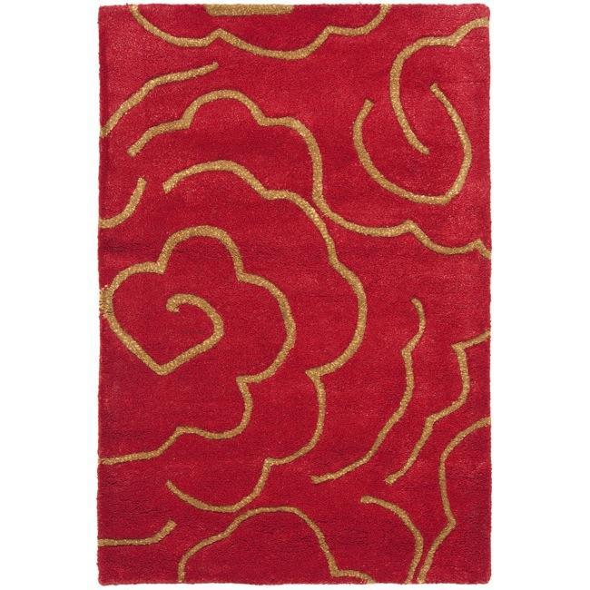 Safavieh Handmade Soho Roses Red New Zealand Wool Rug (2' x 3')