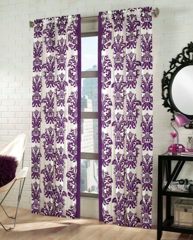 Purple/ White Damask 84 Inch Curtain Panel Pair